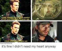 ''The guy who wanted all that went into the ice 75 years ago.'' / Steve Rogers & Bucky Barnes