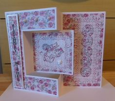Made by Sue Kitching - This was my first attempt at making a card using the tri fold card die. I began by just experimenting but it was so easy to use it became a birthday card for my cousin. Tri Fold Cards, Folded Cards, Tattered Lace Cards, Shaped Cards, Baby Cards, Creative Cards, Your Cards, Birthday Cards, Christmas Cards
