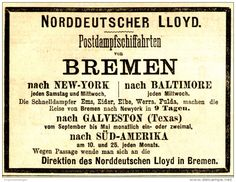 Original-Werbung/ Anzeige 1884 - POSTDAMPFER BREMEN/ NEW YORK/ BALTIMORE…