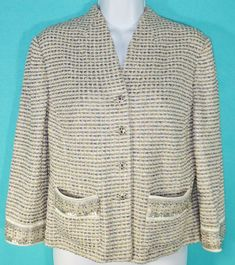 dd682e31a Details about St John Evening Jacket 6 Ivory Knit Rhinestone Buttons  Beading Metallic Shimmer