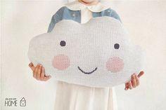 Knit Cloud Pillow WHITE por kokokoshop en Etsy