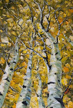 Original Birch Tree Landscape Painting Oil on Canvas by willsonart