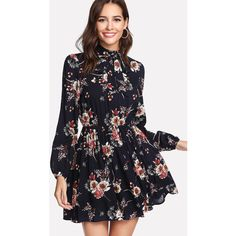 SheIn(sheinside) Tie Neck Flower Print Dress (£14) ❤ liked on Polyvore featuring dresses, multicolor, long sleeve dress, short-sleeve dresses, short dresses, neck ties and floral shift dresses
