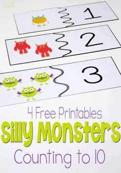 4 free printable silly monster activities for counting to 10 are such a fun way to practice counting and number recognition!These 4 free printable silly monster activities for counting to 10 are such a fun way to practice counting and number recognition! Free Preschool, Preschool Printables, Preschool Learning, Kindergarten Math, Teaching Math, Fun Learning, Preschool Activities, Learning Quotes, Mobile Learning