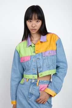 Teen Fashion Outfits, Denim Fashion, Outfits For Teens, Ragged Jeans, Painted Clothes, Cropped Denim Jacket, How To Make Clothes, Colored Denim, Cute Casual Outfits