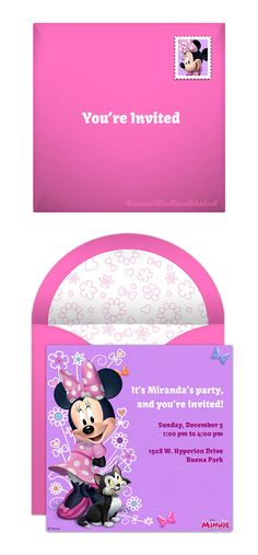 Paper invites are too formal, and emails are too casual. Get it just right with online invitations from Punchbowl. We've got everything you need for your Disney themed party.  http://www.punchbowl.com/disney/groups/minnie-mouse/?utm_source=Pinterest&utm_medium=1.30P