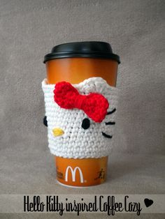 i want to learn how to crochet just to do projects like this -Hello Kitty inspired Coffee Cup Cozy Pattern Coffee Cozy Pattern, Crochet Coffee Cozy, Coffee Cup Cozy, Crochet Cozy, Crochet Motifs, Crochet Crafts, Yarn Crafts, Hand Crochet, Crochet Projects
