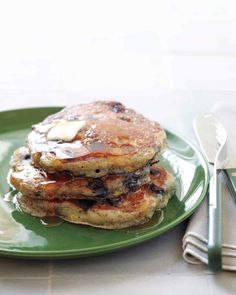 Creamy buttermilk and heart-healthy flaxseed combine with blueberries for a delicious pancake breakfast.