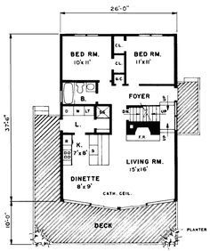 680 sq. ft. Skyridge 1 story cabin floor plan. Custom