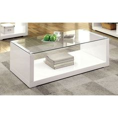 """15.88"""" H x 47.25""""L x 23.66"""" dFurniture of America Shura Contemporary High Gloss Coffee Table. Get…"""