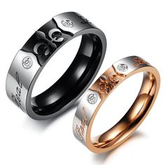 crown rings promise | ... CZ Diamond Rings Couple's Jewelry set Christmas gift for lover, 306