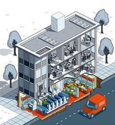 Printing World Magazine Cover - print house isometric illustration by Rod Hunt Illustration, via Flickr
