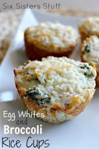 Six Sisters Healthy Meals Monday: Egg Whites and Broccoli Rice Cups on MyRecipeMagic.com These little Egg Whites and Broccoli Rice Cups are a perfect healthy.