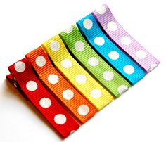 Baby Hair Clip - Baby Girl Hair Clip - Toddler Hair Clip - Rainbow  Dots Simple Clips Set of 6,Girl, Baby, Toddler, Children clippies. $7.25, via Etsy.
