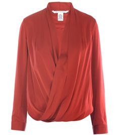 Issie Blouse by Diane Von Furstenberg. Brick red. V-neck. Pleated cross over front. Log sleeve. Buttoned cuffs. Elasticated back hem. #Matchesfashion