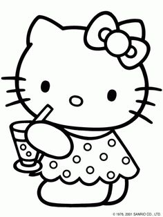 A Lovely Color Picture Of Hello Kitty Free Printable Coloring Pages