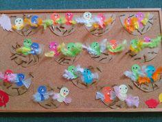 ptáčci v hnízdě - ml. děti lepení vystřižených tvarů a peříček