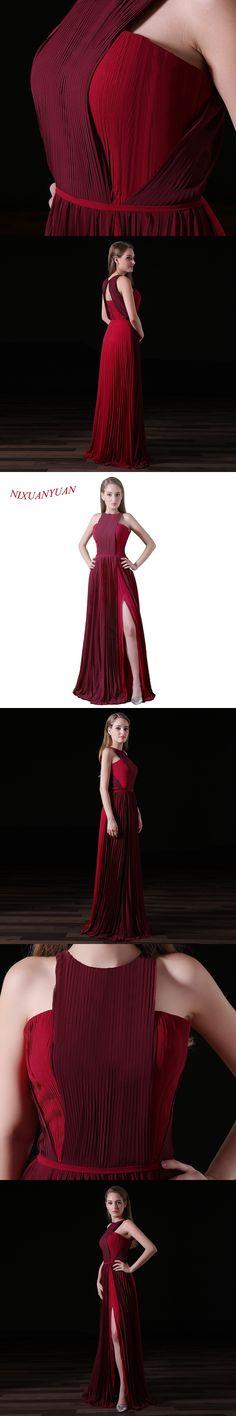 NIXUANYUAN New Custom Made O Neck Chiffon Prom Dress 2017 A Line Side Split Party Dress Sexy vestidos de baile With Sashes