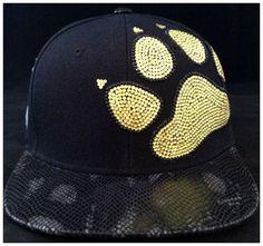 PAW SNAPBACK HAT cap rhinestones black snake flat brim by EnvyMee, $40.00