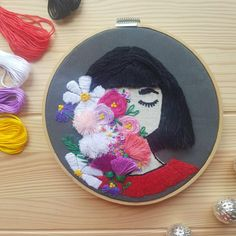 Hand embroidery girl with flowers, 3D embroidery, hand embroidery art, Wall Hanging Gift - Hand Embroidered Art Decor Hand Embroidery Art, Different Stitches, Girls With Flowers, Lovers Art, Art Decor, Coin Purse, Etsy Shop, 3d, Wall