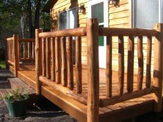 Log Home Deck Railing Ideas | Take it from us, if you don't see what you are looking for, we can ...