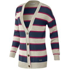 Frauen Knit Stripe Cardigan (38.890 CLP) ❤ liked on Polyvore featuring tops, cardigans, sweaters, shirts, jackets, shirts & tops, striped knit shirt, stripe cardigan, striped shirt and knit shirt