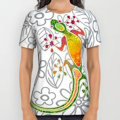 #New #Alloverprint #Shirt on #Society6! #Gecko #Floral #Tribal #Art - by #Bluedarkart  http://society6.com/product/gecko-floral-tribal-art_all-over-print-shirt#57=422 #Free #Worldwide #Shipping Available #Today!