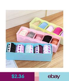 5ef98f5a33 Home Organization 5 Cell Separated Underwear Bras Sock Ties Organizer Boxes  Desk Drawer Closet  ebay