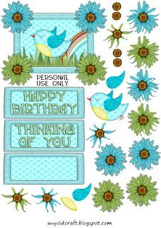 Blue Skys mine decoupage sheet and matching papers