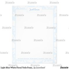 Shop Light Blue White Floral Toile Frame Personalized Letterhead created by LeonOziel. Addressing Envelopes, Laser Printer, Personalized Stationery, Shop Lighting, Letterhead, Letter Size, Thank You Cards, Light Blue, Blue And White
