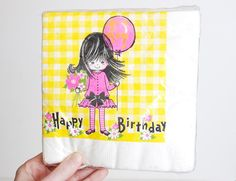 Vintage 70's 80's MOD Girl Happy Birthday Napkins