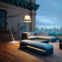 Outdoor lounge with Modern Wicker Outdoor Lighting by Dedon Outdoor Lounge, Outdoor Floor Lamps, Outdoor Flooring, Outdoor Rooms, Outdoor Lighting, Outdoor Furniture Sets, Outdoor Decor, Wood Flooring, Wicker Furniture