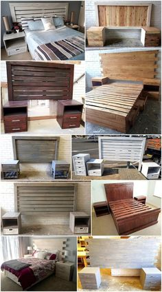 Here in this image, you will simply find out the wonderful designing of wood pallet beds with bedside tables. This recycled wooden pallet bed creation is so custom designed out in the elegant sort of the finishing outlook impacts. Wooden Pallet Beds, Wooden Pallet Crafts, Pallet Wall Decor, Wood Pallet Recycling, Wood Pallet Furniture, Diy Pallet Projects, Rustic Furniture, Furniture Ideas, Bedroom Furniture
