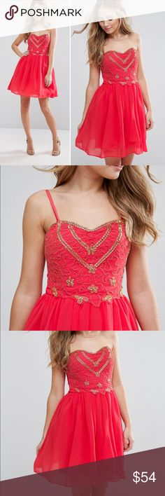 """ASOS Little Mistress Coral Dress w/Embellished Top Coral chiffon ASOS Little Mistress slip-on style dress with bead embellished bodice, molded lightly padded cups and shirred stretch back. Removable adjustable straps, silky-feel lining with net underlay. 100% polyester. US size 8/UK size 12. Bust 36"""", waist 29"""", length 26.5"""". NWT ASOS Dresses Strapless"""
