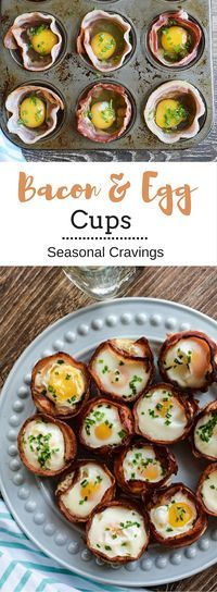 Bacon and Egg Cups - cutest things ever! Paleo, Whole 30, Gluten-Free and full of protein. They are easy to make and can be prepared for the week ahead. Hmm, back to school breakfast? | Seasonal Cravings
