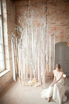 Wedding backdrop - white tree and ribbons. Loft Wedding, Diy Wedding, Wedding Ceremony, Wedding Ideas, Wedding Ribbons, Wedding Parties, Gold Ribbons, Tree Wedding, Wedding Hair