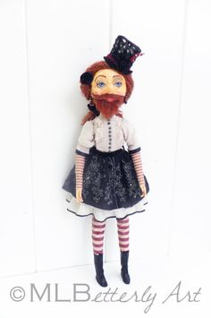 Bearded Lady ooak Art Doll Steampunk goth sideshow by MLBStudios, $325.00