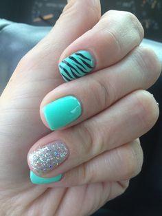 Mint sparkle glitter zebra shellac nails
