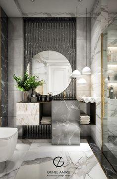 Gunel Amirli Design Studio on Behance Modern Luxury Bathroom, Modern Kids Bedroom, Bathroom Design Luxury, Bathroom Lighting Design, Washroom Design, Toilet Design, Bathroom Dimensions, Dining Room Table Decor, Bathroom Design Inspiration
