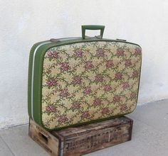 #Travel Vintage Style #Vintage Vegan Floral and Avocado Green Hard Sided Suitcase