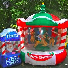 12ft Lit Rotating Animated Christmas Carousel Airn Inflatable Merry Go Round Inflatables Thanksgiving Wishes