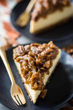 Pecan Pie Cheesecake: Creamy, New York-style brown sugar cheesecake over a buttery graham cracker crust, with the most decadent gooey pecan pie topping! #pecanpiecheesecake #pecanpie #cheesecake #easy #recipe #bars #thanksgiving #best #grahamcrackers #bourbon #chocolate #squares #topping #homemade #caramel #brownsugar #carmel #dessert #simple #cake #withoutcornsyrup #bakingamoment