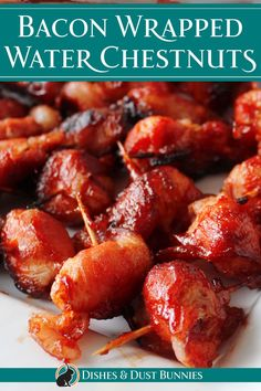 Bacon wrapped water chestnuts are so incredibly simple to make and are so addictive and delicious!The smokiness of the bacon and the sticky sweet flavour of the sauce is perfect with the crunch of the water chestnuts. This is an excellent and super popular appetizer for special occasions, Christmas, the holidays, get together for friends or for anytime really. It's always a hit in our house, and there are never any leftovers! Bacon Appetizers, Appetizer Recipes, Delicious Appetizers, Bacon Wrapped Water Chestnuts, Bacon Water Chestnuts Recipe, Bacon Wrapped Smokies, Tapas, Cooking Recipes, Healthy Recipes