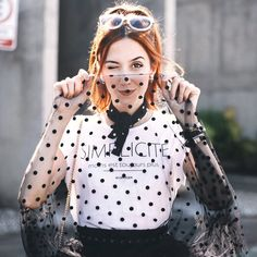polka dots tulle  black and white outfit <3