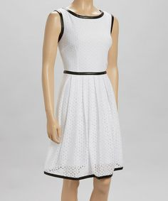 Another great find on #zulily! White Daisy Lace Sleeveless Dress by SL Fashions #zulilyfinds