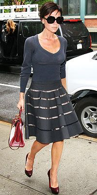 Victoria Beckham added Louboutin platforms to her ultra-feminine Alaia skirt.