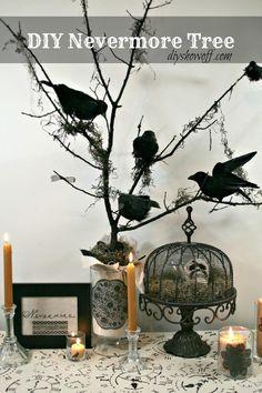 Halloween decorations : DIY Halloween Nevermore Tree decor
