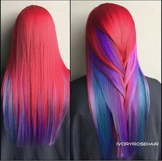 Scarlet red hair color with blue teal purple lilac lavender underlights ombré for long straight hair