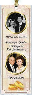 Photo Anniversary Favors Idea - Two Gold Rings surround a wedding picture and a current one, on these beautiful, personalized photo bookmarks. Great for a 50th Anniversary Party. More anniversary favors and invitations at http://www.photo-party-favors.com/
