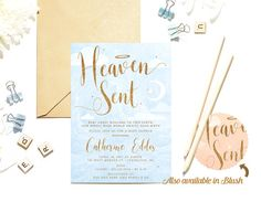 heaven sent baby shower invitations baby boy or baby girl blue and blush pink